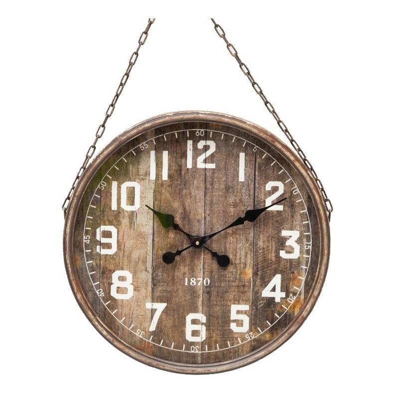 grande horloge g ante murale pendule style industriel vintage en fer patin marron vitre et. Black Bedroom Furniture Sets. Home Design Ideas