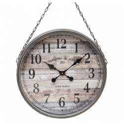 Grande Horloge Géante Murale Pendule Style Marin en Fer Patiné Gris Vitre et Chaine 8x48x70cm