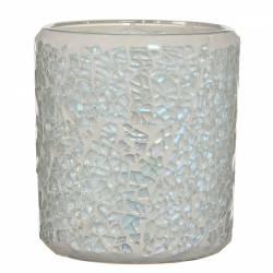 Photophore Porte Bougie Pot Décoratif en Verre Mosaïque ou Craquelé Blanc 7x7x8cm
