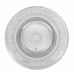 Assiette Plate à Dessert Plat de Présentation Vaisselle en Verre Transparent Ø18cm