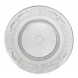 Assiette Plate à Dessert Plat de Présentation Vaisselle en Verre Transparent Ø23cm