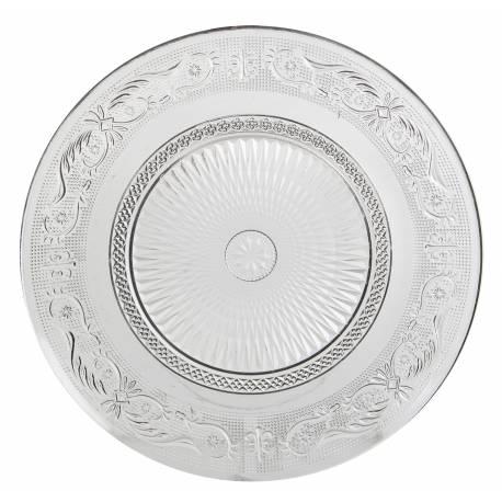 assiette plate plat de pr sentation vaisselle en verre transparent 29cm l 39 h ritier du temps. Black Bedroom Furniture Sets. Home Design Ideas