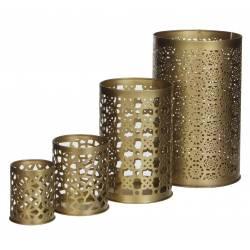 Set de 4 Photophores Cylindriques Bougeoir Rond Pot à Crayons en Métal Doré 14x14x22,5cm