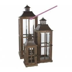 Grande Lanterne Lampe Tempête en Bois Vitre et Fer Carrée 37x37x112cm