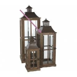 Grande Lanterne Lampadaire à Poser Lampe Tempête en Bois Vitre et Fer Carrée à Bougie 29x29x85cm