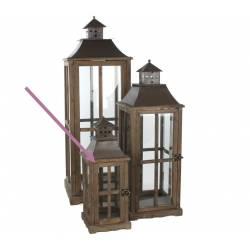 Grande Lanterne Lampe Tempête en Bois Vitre et Fer Carrée 29x29x85cm