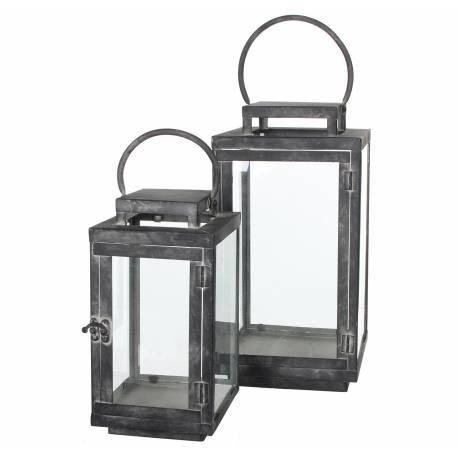 grande lanterne lampe temp te luminaire bougie en m tal et verre 20x20x51cm l 39 h ritier du temps. Black Bedroom Furniture Sets. Home Design Ideas