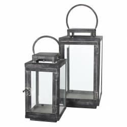 Lanterne Lampe Tempête Luminaire ou Lampion à Bougies en Fer et Verre Patiné Gris 15x15x39cm