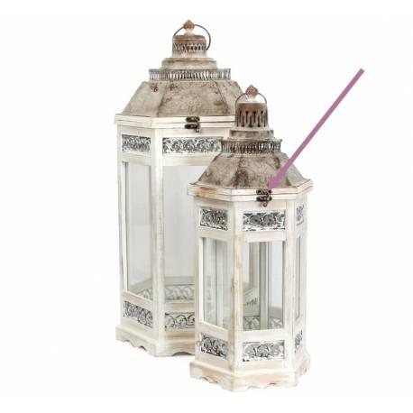 Lanterne Hexagonale Lampe Tempête Luminaire en Bois Blanchi et Fer Patiné Marron 25x25x60cm