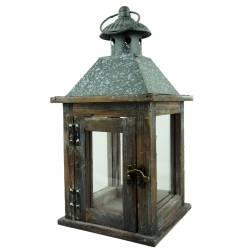 Lanterne Porte Bougie Lampe Tempête Lampion en Bois Marron et Fer Patiné Gris 15x15x30,50cm