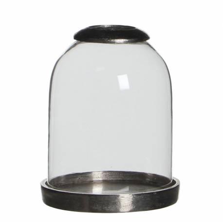 globe porte bougie photophore sur socle bougeoir en fonte d 39 aluminium et verre 13x13x16cm l. Black Bedroom Furniture Sets. Home Design Ideas