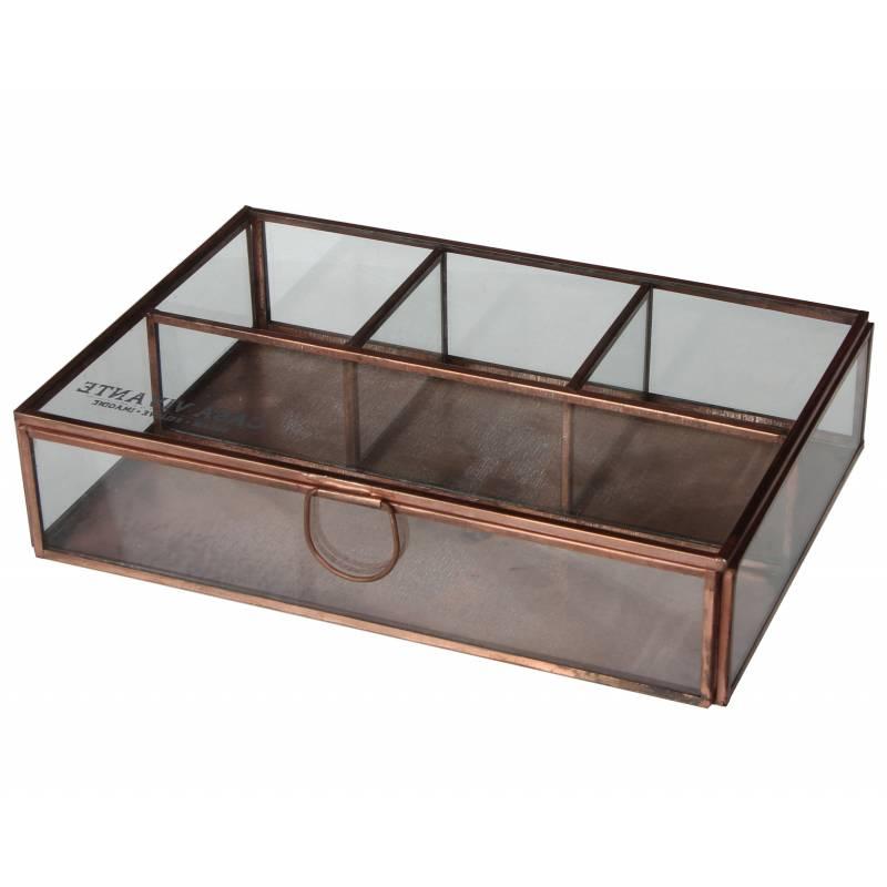 coffret 224 bijoux boite de rangement rectangle multi usages en verre et fer cuivr 233 5x15x22cm l