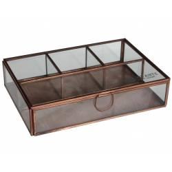 Coffret à Bijoux Boite de Rangement Rectangle Multi-Usages en Verre et Fer Cuivré 5x15x22cm