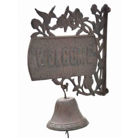 Enseigne de Porte ou Plaque Murale Inscription Welcome avec Cloche en Fonte Patinée Marron 13x29x36cm