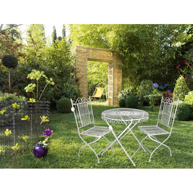 salon de jardin 2 personnes salon de the bistrot 1 table 2 chaises en fer vanille l 39 h ritier. Black Bedroom Furniture Sets. Home Design Ideas