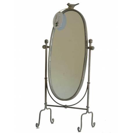 Miroir Psyché Glace Ovale de Chambre ou Salle de Bain sur Pied en Fer Gris  Motif Oiseau 14x22x47cm