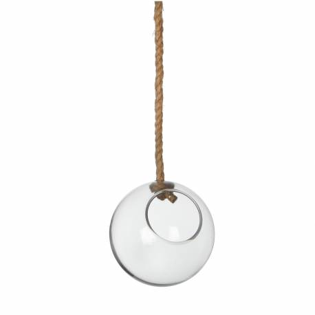 Suspension Globe Porte Bougie Porte Plante en Verre avec Corde 15,50x15,50cm