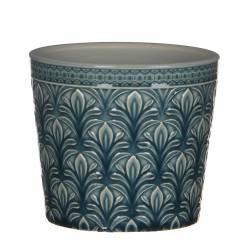 Cache Pot Porte Plante Jardinière Pot de Fleur en Terre Cuite Emaillée Ton Bleu Turquoise 11x12x12cm