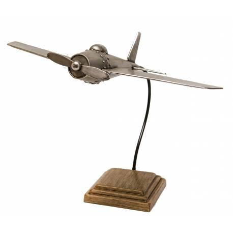 Maquette d'Avion en Métal Patiné Gris et Fer Imitation Bois Sculpture 40x45x52cm