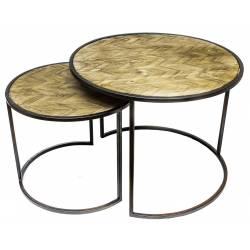 Lot de 2 Tables Basses Consoles Dessertes Gigognes Rondes en Bois Sculpté et Fer Patiné Noir