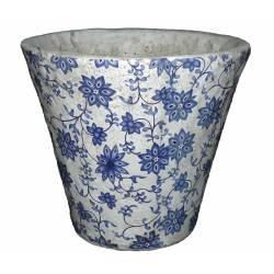 Grand Cache Pot Etanche Style Champêtre aux Motifs Floraux Bleutés en Terre Cuite Blanche 20x23x23cm