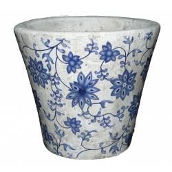 Moyen Cache Pot Etanche Style Champêtre aux Motifs Floraux Bleutés en Terre Cuite Blanche 14x16x16cm