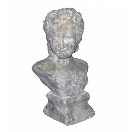 Petit Buste Femme à Poser ou Statuette Décorative Féminine en Terre Cuite Ton Pierre 10,5x15,5x25cm