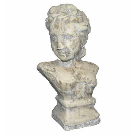 Grand Buste Femme à Poser ou Statuette Décorative Féminine en Terre Cuite Ton Pierre 13x18,5x31cm
