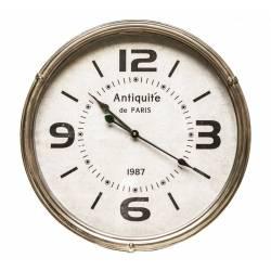 Grande Horloge Ronde Pendule Murale Vintage Style Antique en Fer et Verre 6,50x46x46cm
