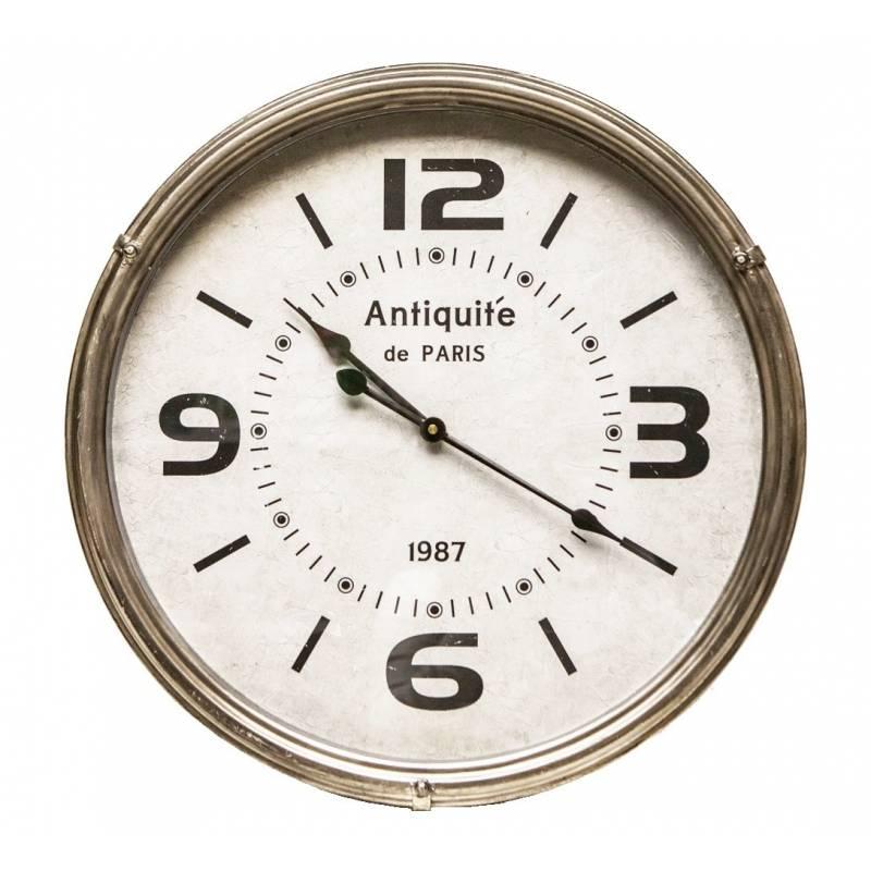 grande horloge ronde pendule murale vintage style antique en fer et verre 6 50x46x46cm l. Black Bedroom Furniture Sets. Home Design Ideas
