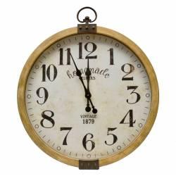 Grande Horloge Murale Géante Grande Pendule Ronde en Bois et Verre 7.5x73.5x90cm