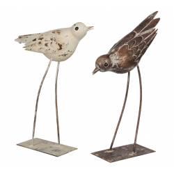 Grand Couple d'Oiseaux en Fer Patiné Blanc et Marron 7.5x27x35cm