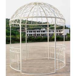 Grande Tonnelle Kiosque de Jardin Pergola Abris Rond en Fer Blanc 250x250x290cm