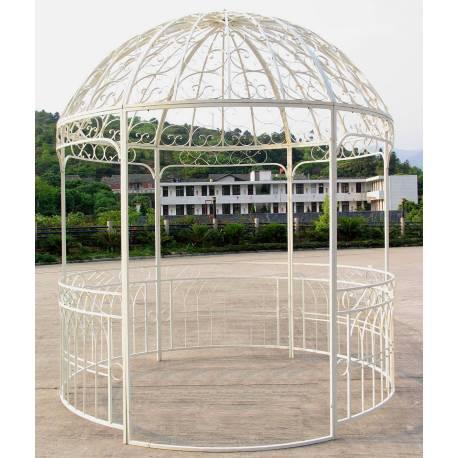 Grande Tonnelle Kiosque de Jardin Pergola Abris Rond Gloriette en Métal Blanc 250x250x290cm