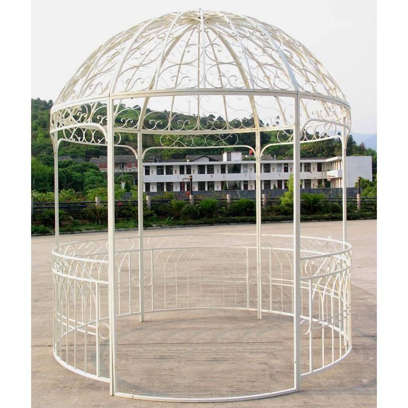Grande Tonnelle Kiosque De Jardin Pergola Abris Rond Gloriette En Fer Forg Blanc 250x250x290cm