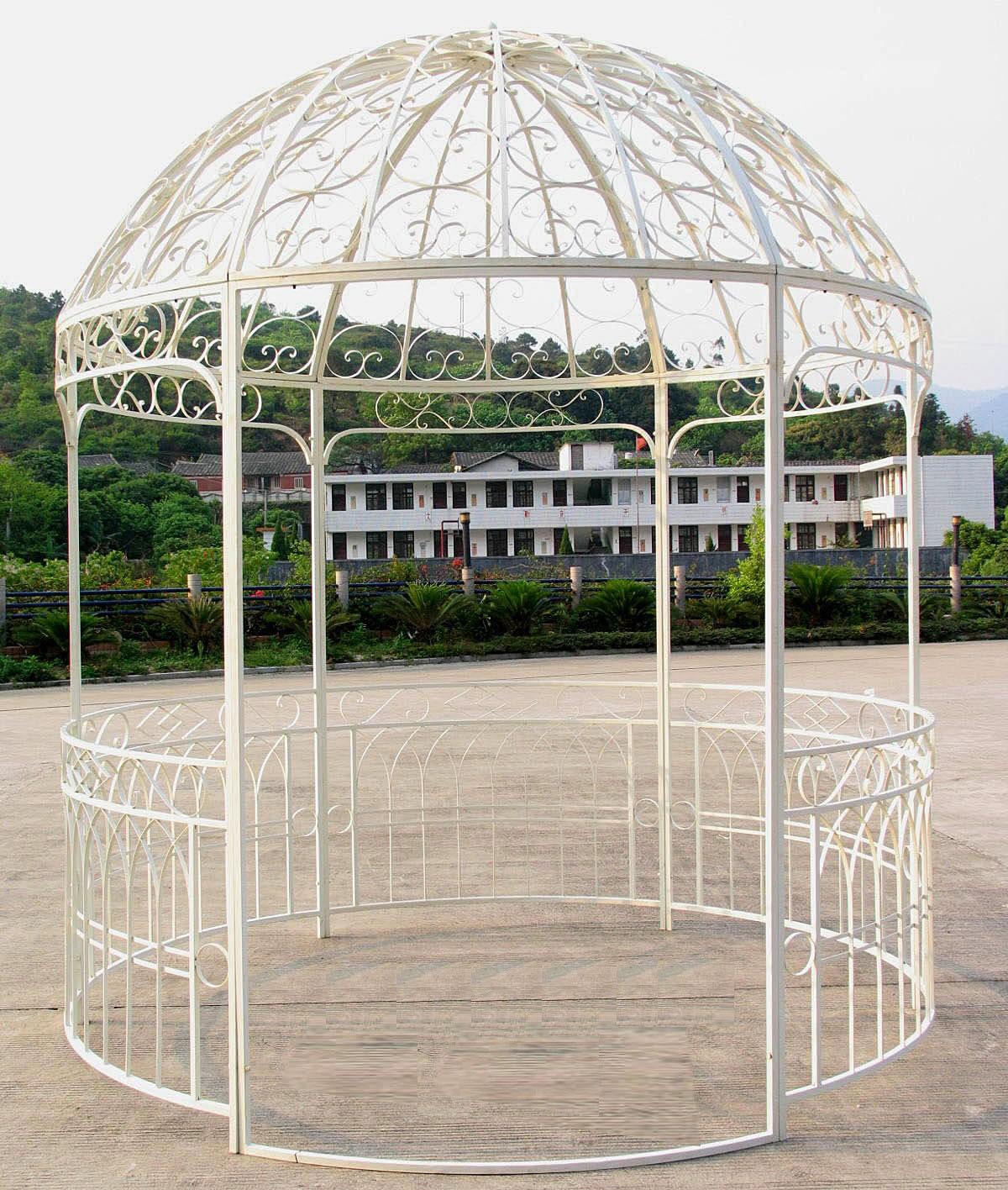 Tonnelle Kiosque De Jardin grande tonnelle kiosque de jardin pergola abris rond gloriette en fer forgé  blanc 250x250x290cm