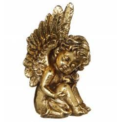 Statuette Sculpture Chérubin Ange Angelot Endormi Assis en Résine Dorée 7,50x9x15,50cm