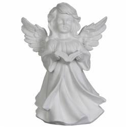 Statuette Sculpture Chérubin Ange Angelot en Robe en Résine Patinée Blanche 13x16,50x23,50cm