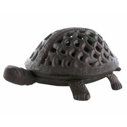 Tortue à Poser Lanterne Bougeoir Photophore Porte Bougie Sculpture en Fonte Patinée Marron 12x21x30cm