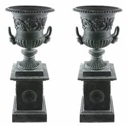 Paire de Vasque et Socle Géant Vase Extérieur de Chateau en Fonte Gris 44x44x111cm