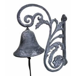 Cloche Sonnette Carillon Clochette de Porte Murale sur Crédence en Fonte Patinée Grise 11,50x22x28cm