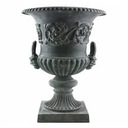 Grande Vasque Vase Jardiniere avec Anses en Fonte Pot de Fleur 80x80x107cm