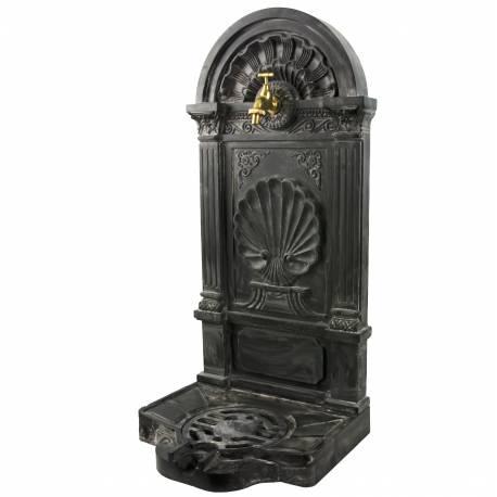 Fontaine à Poser Source en Fonte d'Aluminium Patinée Grise avec Robinet Fonctionnel en Laiton 33x40x83cm