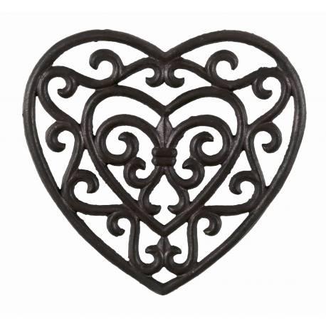 Dessous de Plat Centre de Table Forme de Coeur en Fonte Patinée Marron 2x18x18,50cm
