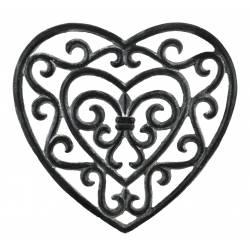 Dessous de Plat Centre de Table Forme de Coeur en Fonte Patinée Grise 2x18x18,50cm