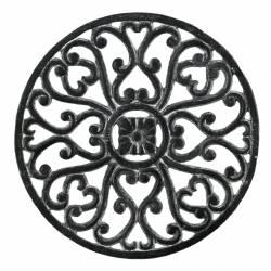 Dessous de Plat Centre de Table Forme Ronde en Fonte Patinée Grise 1,50x17,50x17,50cm