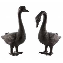 Oies Statue Sculpture Représentation Couple Oiseaux en Fonte Patinée Marron 17x36x50cm