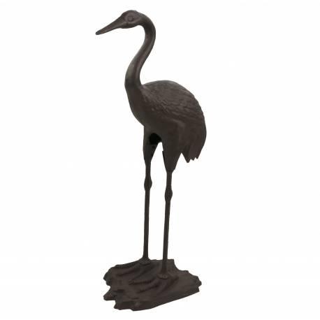 Statue Sculpture Représentation Héron Oiseau Tête Haute en Fonte Patinée Marron 22x36x77cm