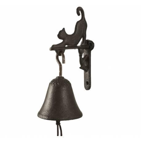 Cloche Sonnette Carillon Clochette de Porte Murale sur Crédence Motif Chat en Fonte Patinée Marron 8x12x18cm