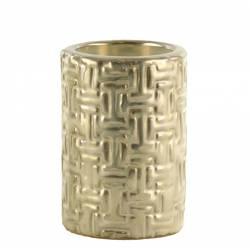 Bougeoir Rond de Table Porte Bougie à Poser Chauffe Plat 1 Feu en Céramique Emaillée Nacrée 6x6x9cm